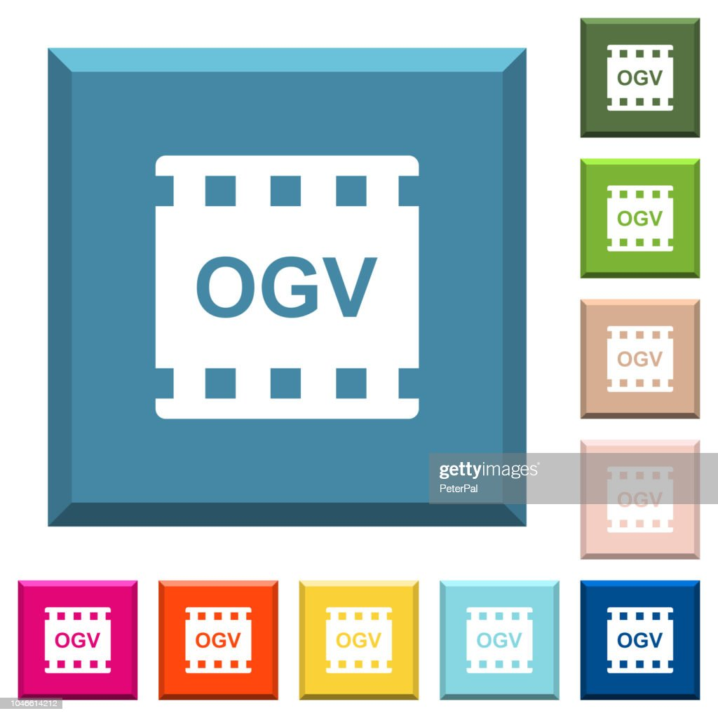 OGV movie format white icons on edged square buttons