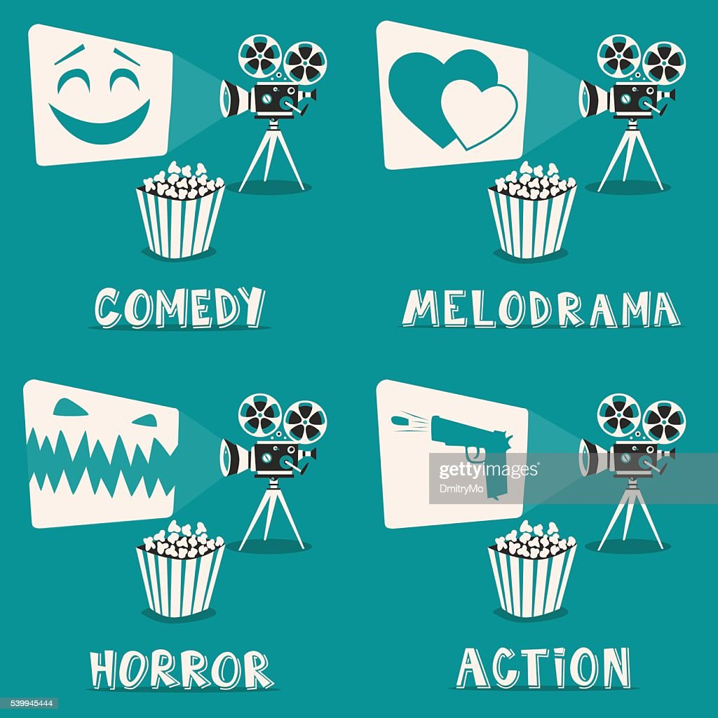 Movie genres poster. Cartoon vector illustration. Film projector and popcorn