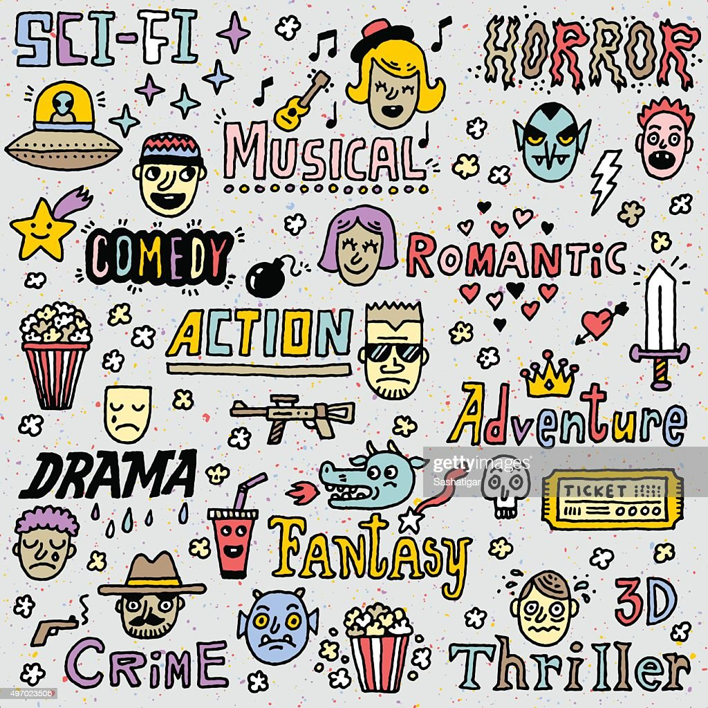 Movie Genres. TV Shows, Series Funny Doodle Vector Color set.