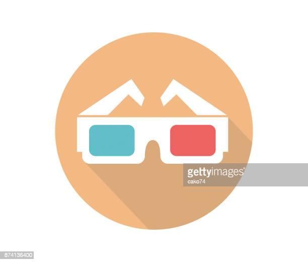 3D movie glasses vector icon