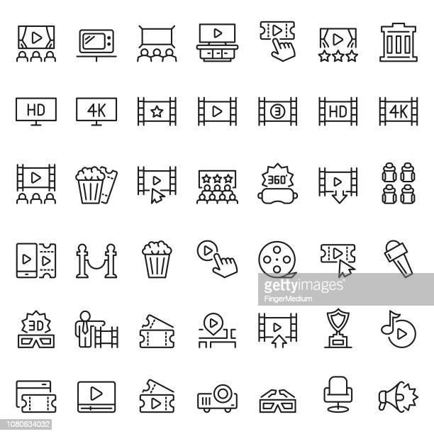 ilustraciones, imágenes clip art, dibujos animados e iconos de stock de conjunto de iconos de la película - mirar un objeto