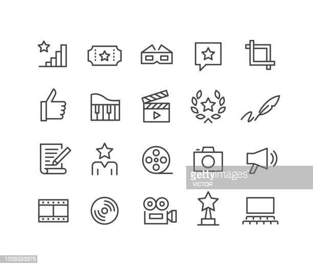 movie icons - classic line series - film studio stock illustrations