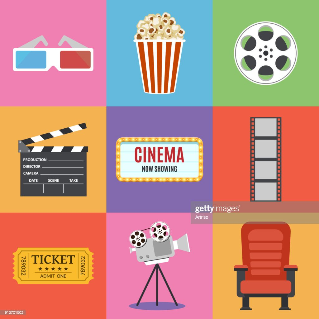 Movie Icons. Flat style