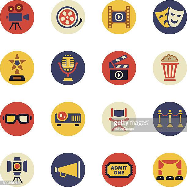 movie icons set - actor stock illustrations, clip art, cartoons, & icons