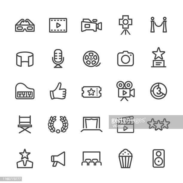movie icons - smart line series - film studio stock illustrations