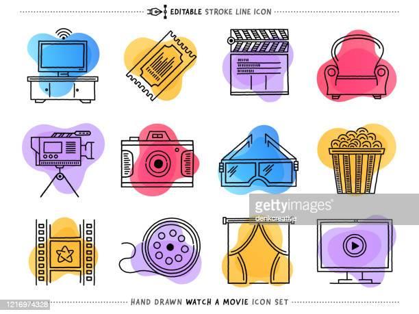 bildbanksillustrationer, clip art samt tecknat material och ikoner med inst.ikonuppsättning för vektorktor för filmindustri - film and television screening