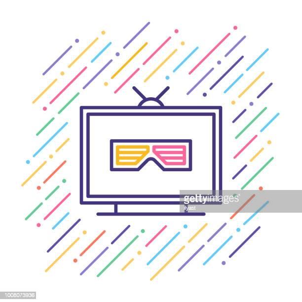 3D Movie Line Icon