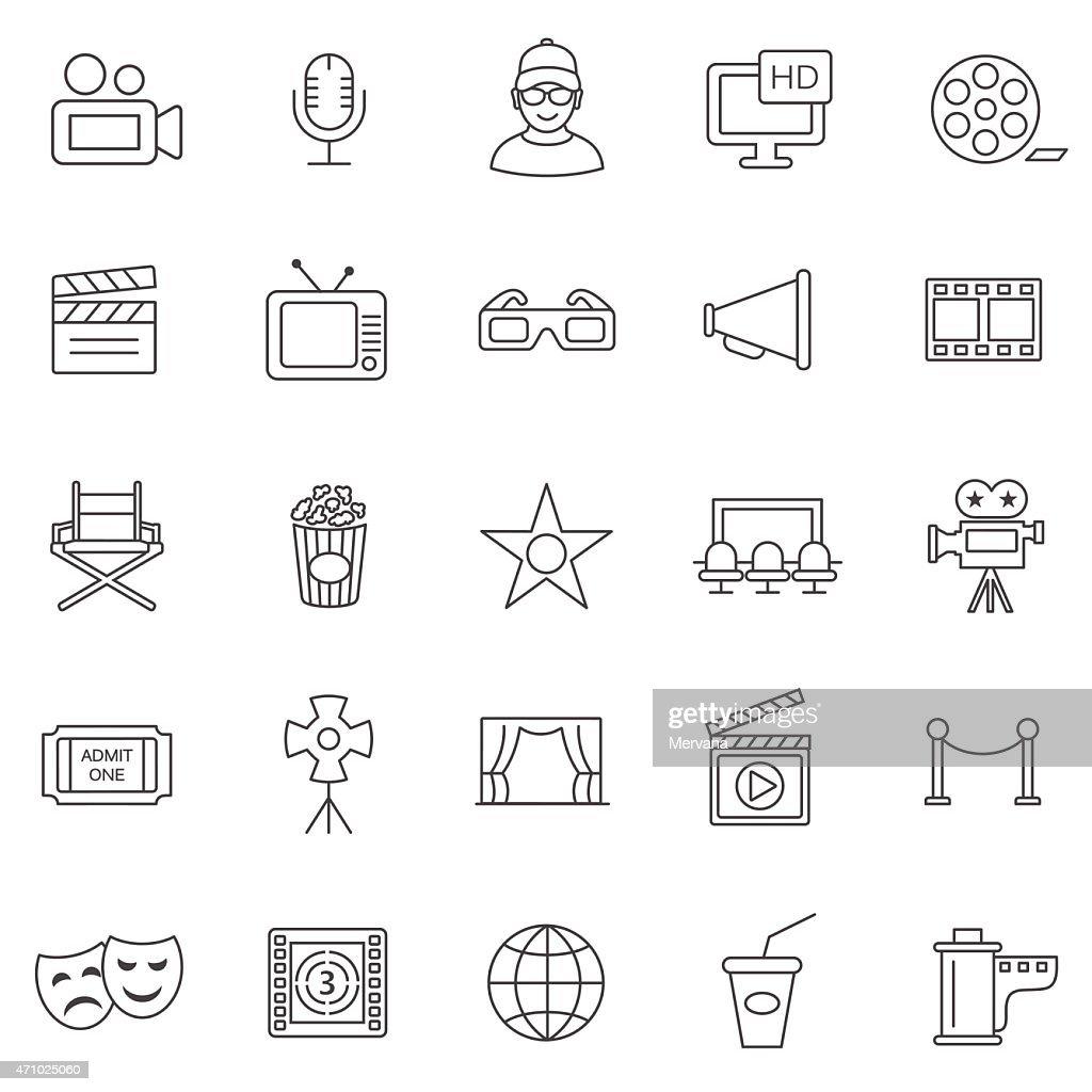 Movie line icons set.Vector