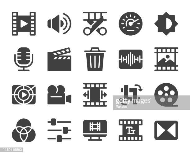 illustrazioni stock, clip art, cartoni animati e icone di tendenza di movie making and video editing - icons - industria cinematografica