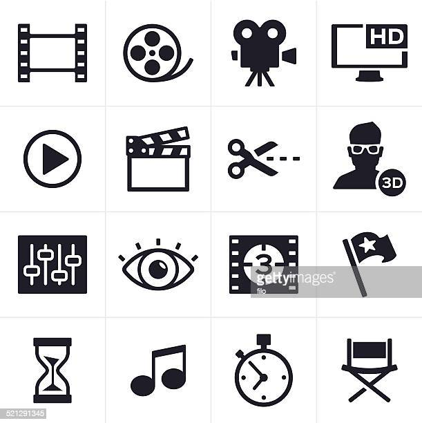 movie making and video editing icons - video camera stock illustrations, clip art, cartoons, & icons