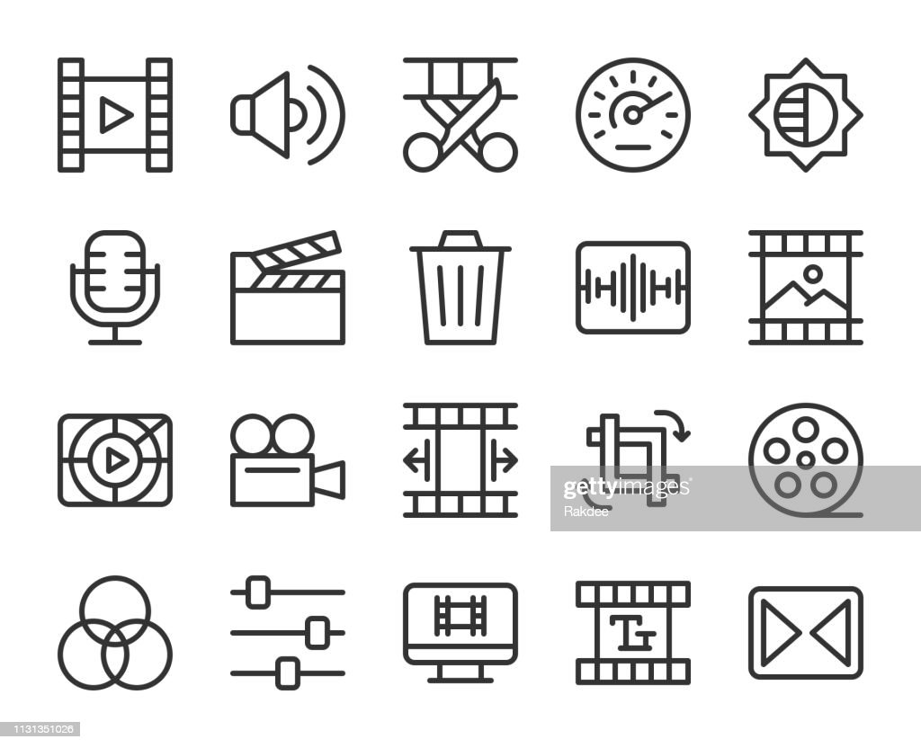 Movie Making and Video Editing - Line Icons : stock illustration