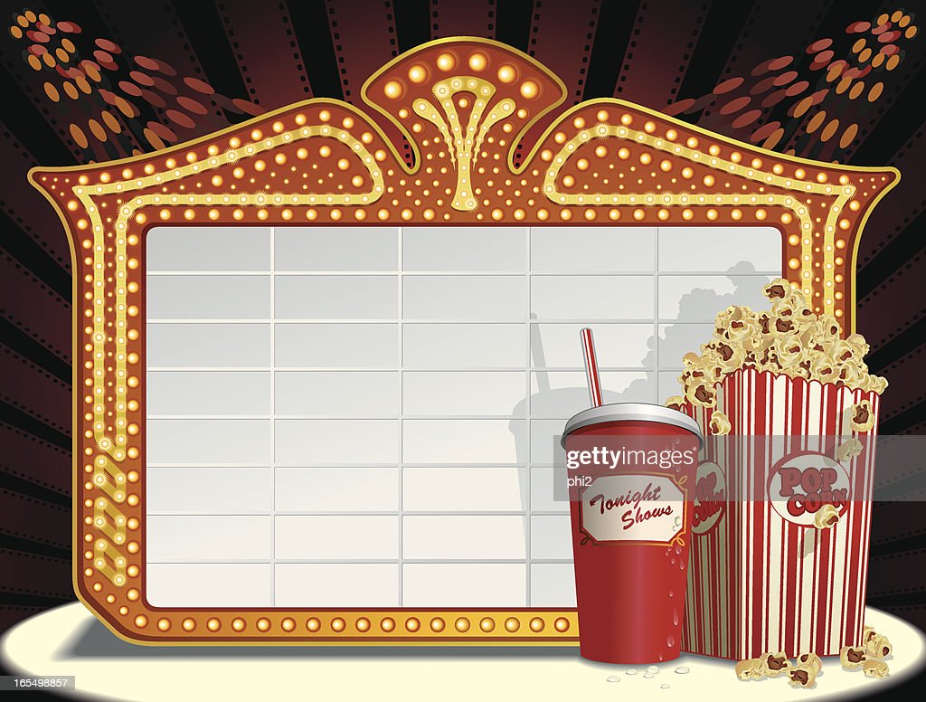 Movie Marquee Frame, Soda and Popcorn Vector : stock illustration