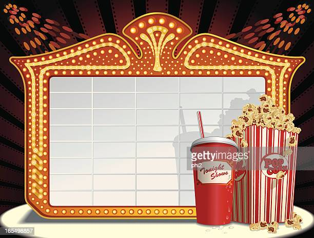 Movie Marquee Frame, Soda and Popcorn Vector