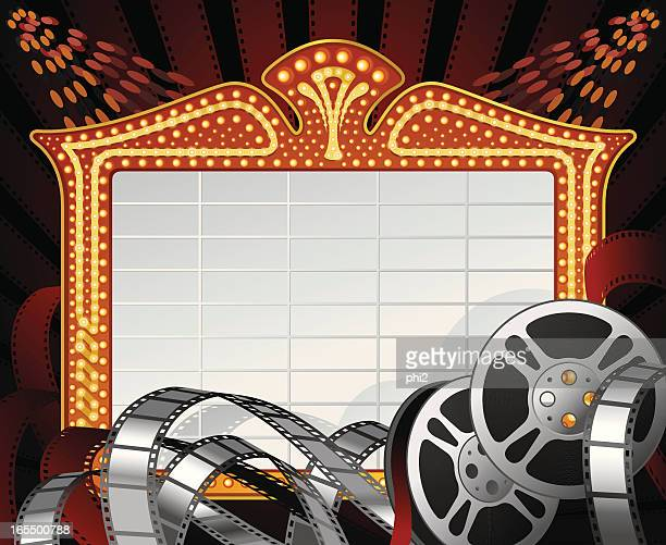 Movie Marquee Frame with Film Reels and Negatives Vector