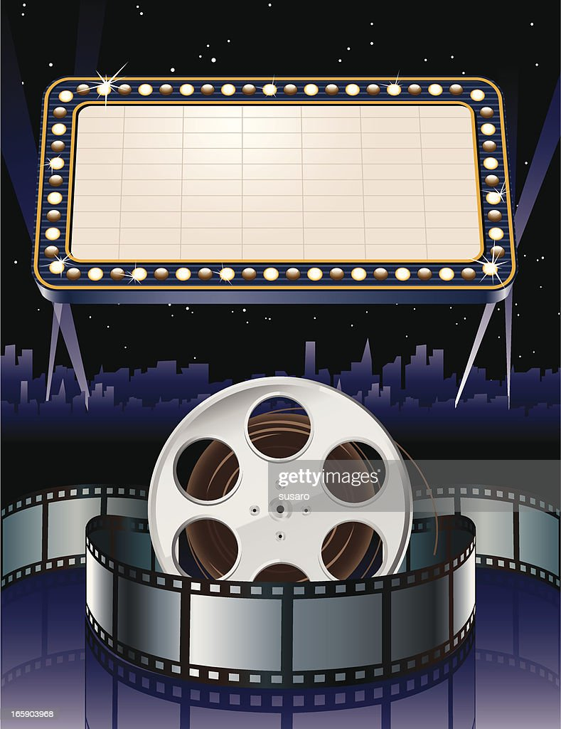Movie Marquee with Film Reel