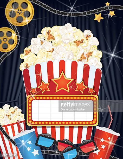 Movie Night Background Black Curtain and Film