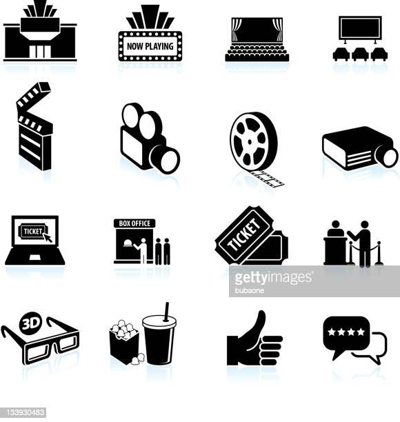 movie night black and white royalty free vector icon set