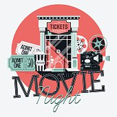 Movie Night detailed illustration