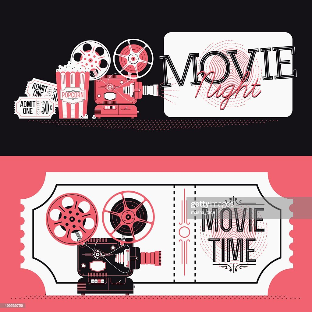 Movie Night event web banners or print flyer design elements