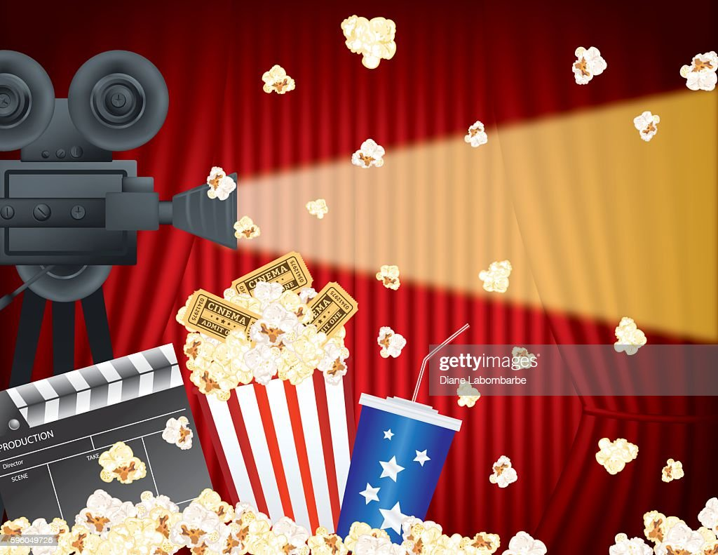 movie night party background with curtain and popcorn high