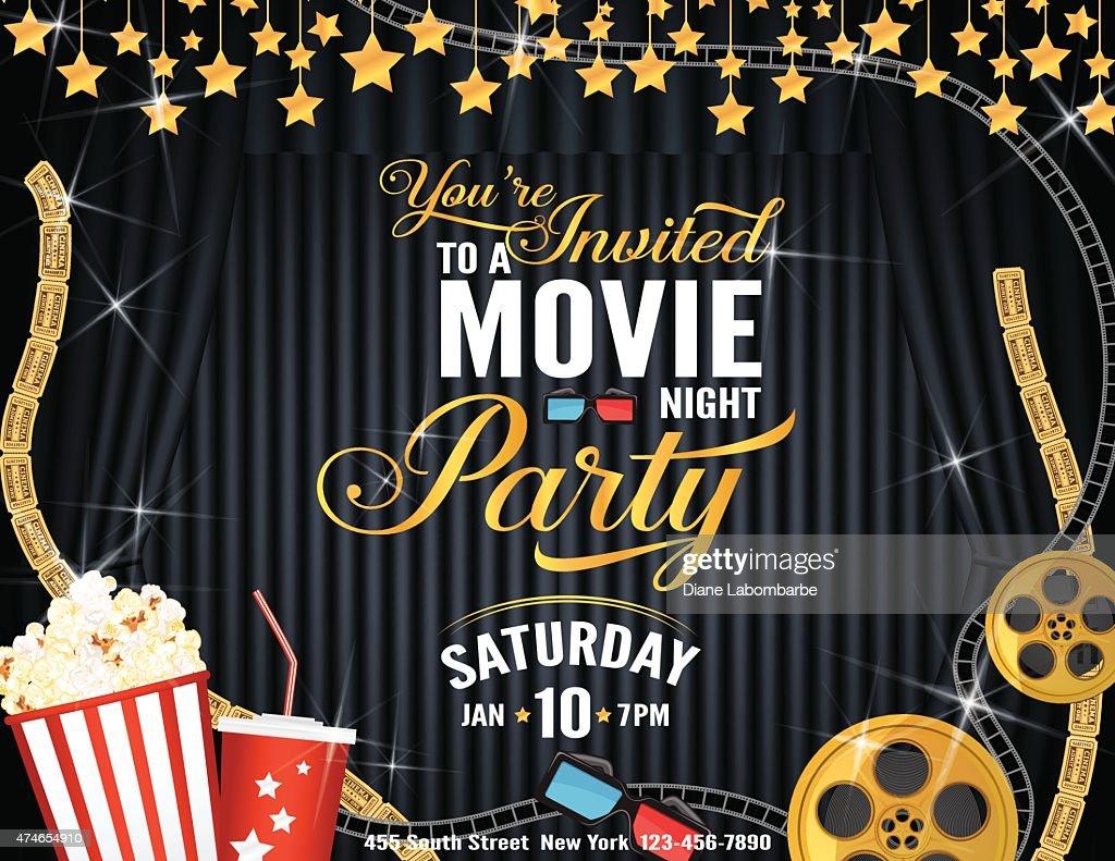 movie night party horizontal invitation template with black curtains
