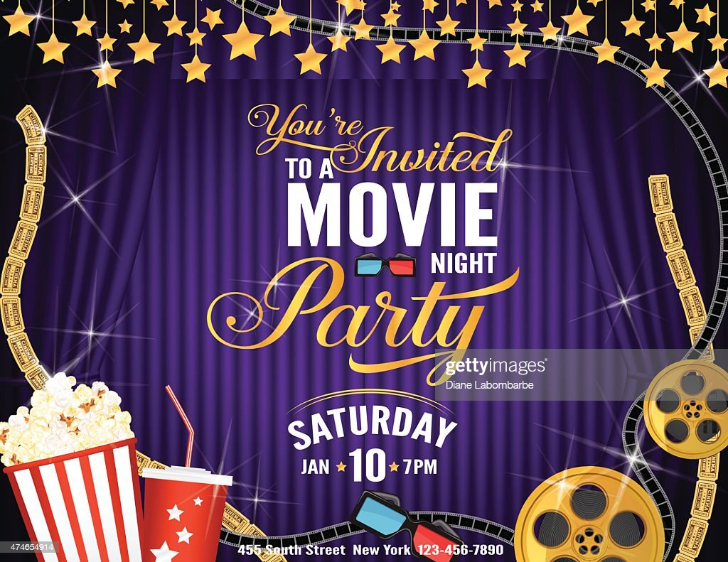 Movie Night Party Horizontal Invitation Template With Purple ...