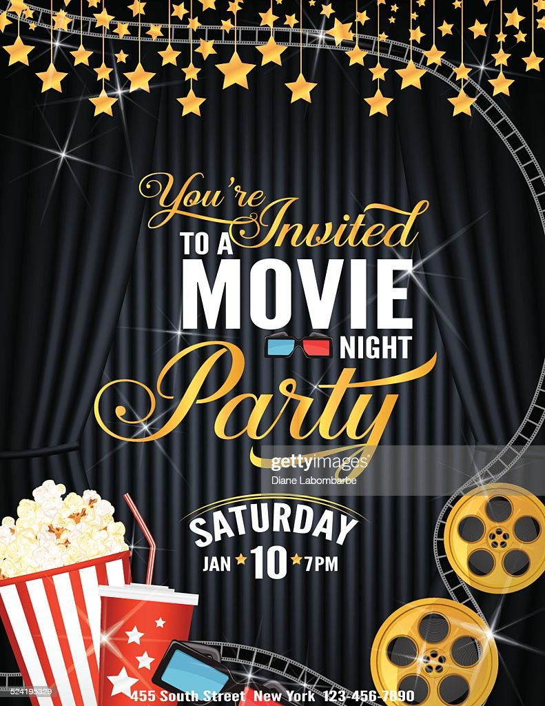 Movie night party invitation template with black curtain and film movie night party invitation template with black curtain and film vector art stopboris Image collections