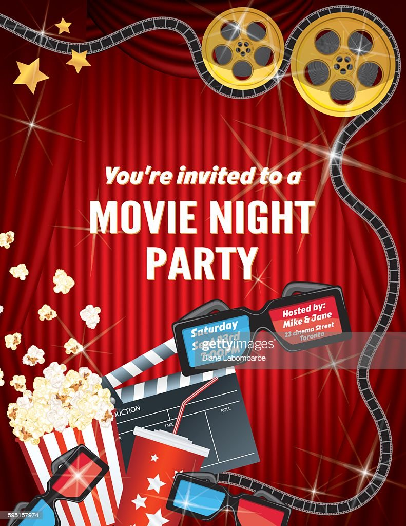 Movie night party invitation template with curtain and film vector movie night party invitation template with curtain and film vector art stopboris Image collections