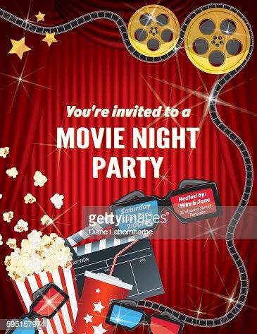 Movie night party invitation template with red curtain and film keywords stopboris Gallery