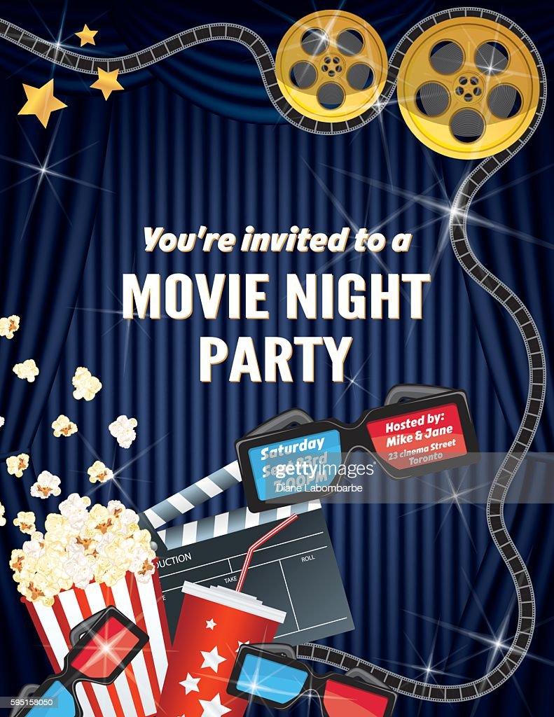 Movie Night Party Invitation Template With Curtain And Film Vector ...