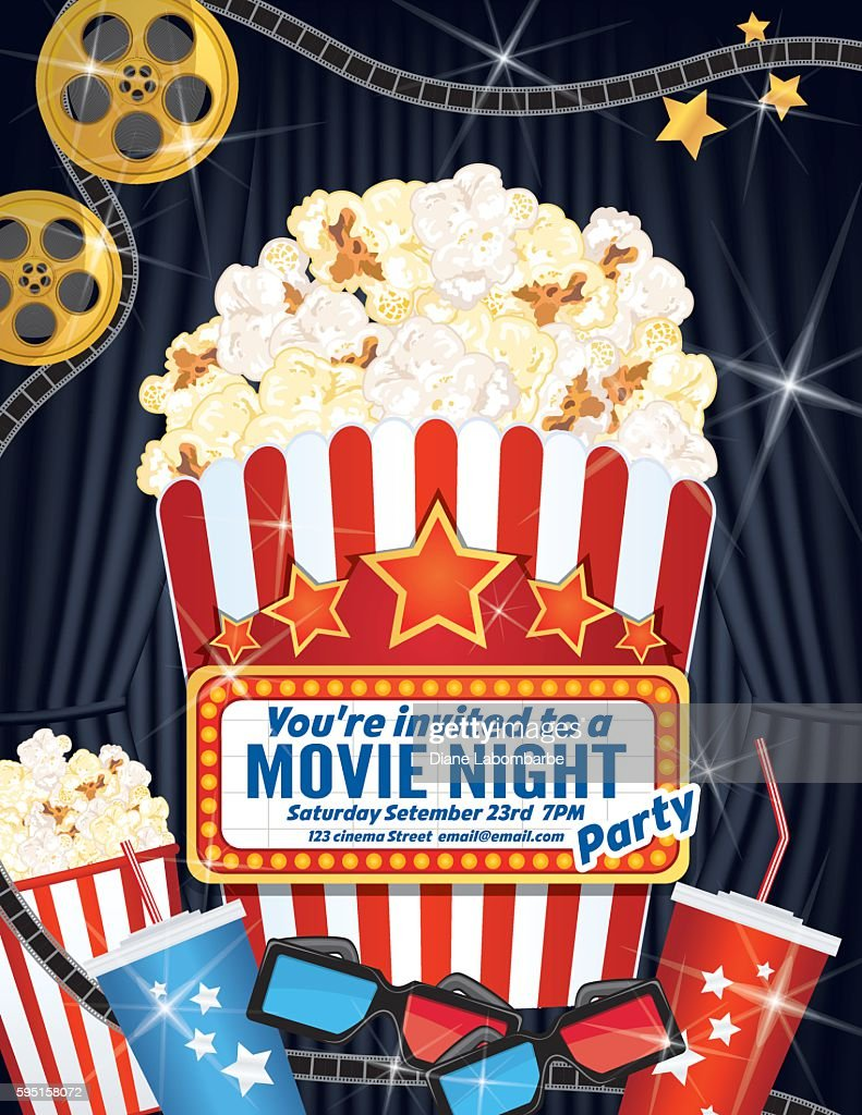 Movie Night Party Invitation Template With Curtain and Film