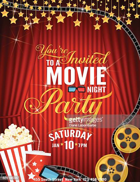 movie night party invitation template with red curtain and film - movie theater stock illustrations