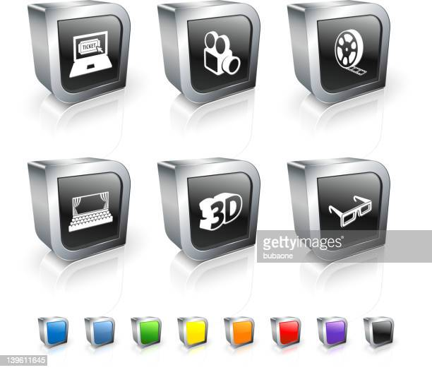 movie night royalty free vector icon set