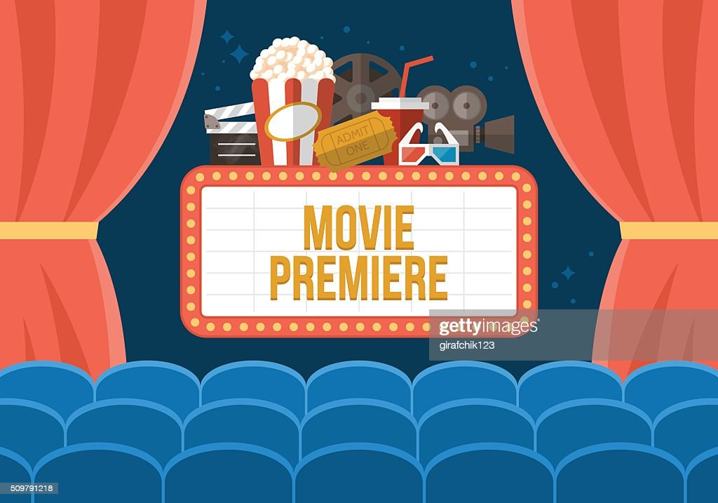 Movie premiere poster deisgn with cinema curtains, seats and sign