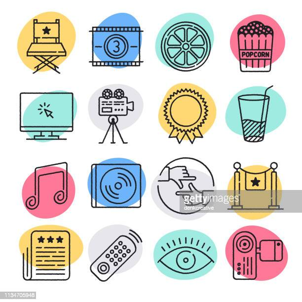 movie recommendation system doodle style vector icon set - actor stock illustrations
