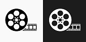 Movie Reel Icon on Black and White Vector Backgrounds