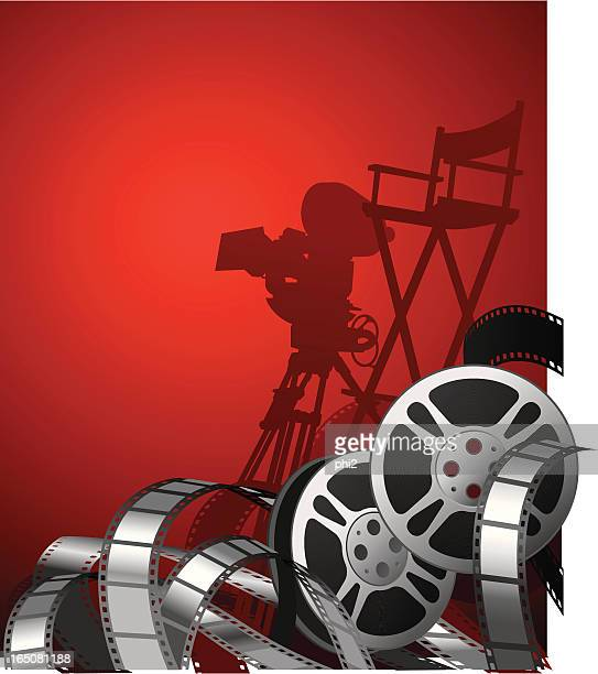 Movie Reels with Film Stripes Vector