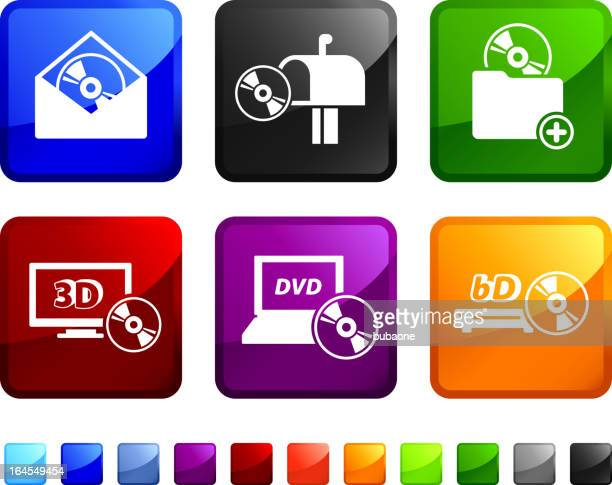 movie rental royalty free vector arts on vector icon set - dvd stock illustrations, clip art, cartoons, & icons