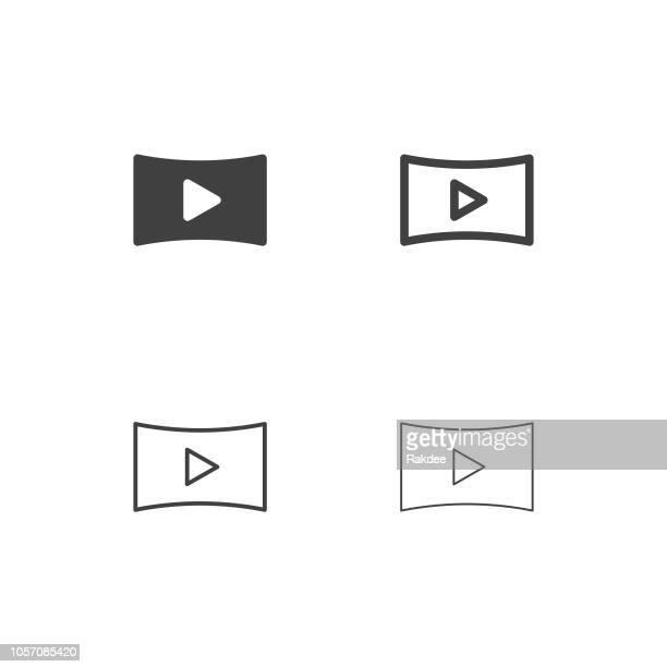 bildbanksillustrationer, clip art samt tecknat material och ikoner med film screen icons - multi-serien - film and television screening