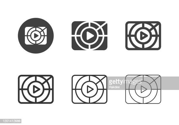 movie screening icons - multi series - ultra high definition television stock illustrations
