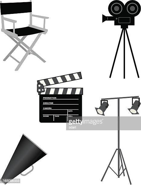 movie set - camera tripod stock illustrations, clip art, cartoons, & icons