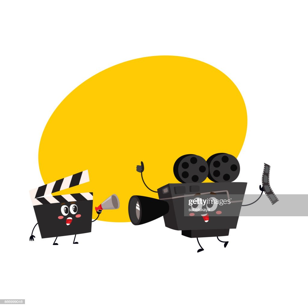 Movie shooting camera, film reel characters with smiling human faces