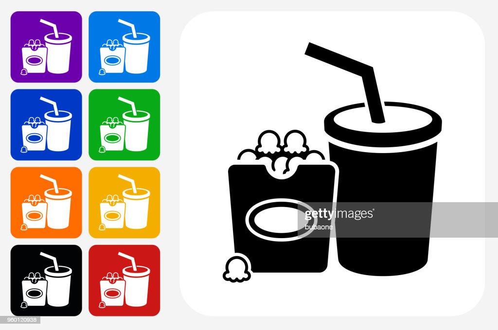 Film Snacks Symbol Square Buttonset : Stock-Illustration