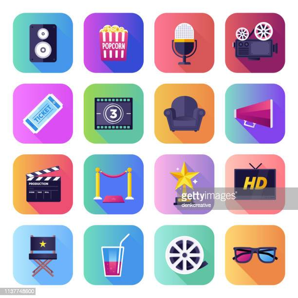 Film, Fernsehshow & Video Flat Smooth Gradient Style Vector Icons Set