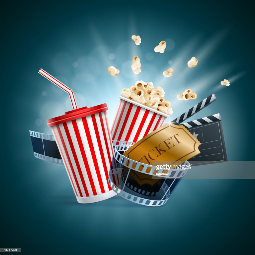 Movie theater popcorn and soda illustration