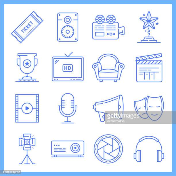 Movie Theaters & Cinema Tickets Blueprint Style Vector Icon Set