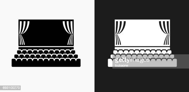 Movie Theatre Icon on Black and White Vector Backgrounds