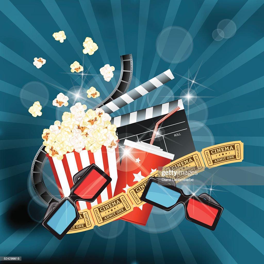 movie theatre template background film curtains popcorn tickets