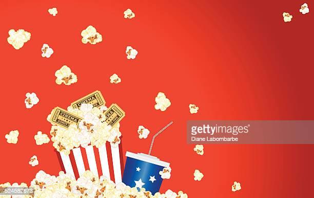 Movie Theatre Template Background -  Popcorn, Soda, Tickets