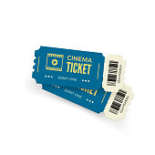 Movie ticket. Blue cinema tickets isolated on white background. Realistic cinema ticket template. Vector illustration